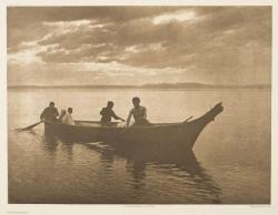 """Homeward"" par Edward S. Curtis, photogravure, reproduction : Christian Vignaud"
